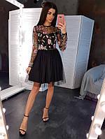 Платье мини женское с юбкой из сетки с вышивкой