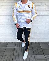 Спортивный костюм мужской Adidas FC Real Madrid, белая олимпийка и черные штаны