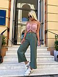 Женские брюки кюлоты, черные, оливка, пудра, фото 2