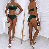 Жіночий купальник роздільний, тканина трикотаж гумка, хакі, білий, фото 3