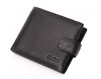 Мужской маленький кошелек из натуральной кожи, кожаный бумажник, кошелек на кнопке, портмоне Cardinal, черный