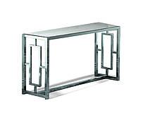 Стол Консоль, столешница стекло, каркас НЖ сталь. длинна1250мм, ширина350мм, высота800мм