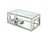 Кофейный столик, столешница стекло, каркас НЖ сталь. длинна1200мм, ширина600мм, высота500мм