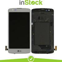 Дисплей (экран) для LG K350E K8 (2016)/K350N/Phoenix 2 + Тачскрин / Сенсор (Модуль) белый, с передней панелью (рамкой), оригинал