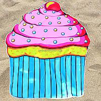 Пляжное покрывало-полотенце Кекс для отдыха на песке или траве, 150 см (K14344)