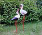 Декоративный аист с аистенком - садовый декор из керамики на металлических лапках (БК), фото 2