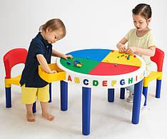 Столик для конструктора с двумя стульчиками (без наполнения)