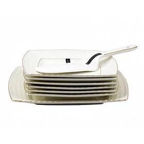 Сервиз для торта фарфоровый 8 предметов Снежная королева Interos 0805-А