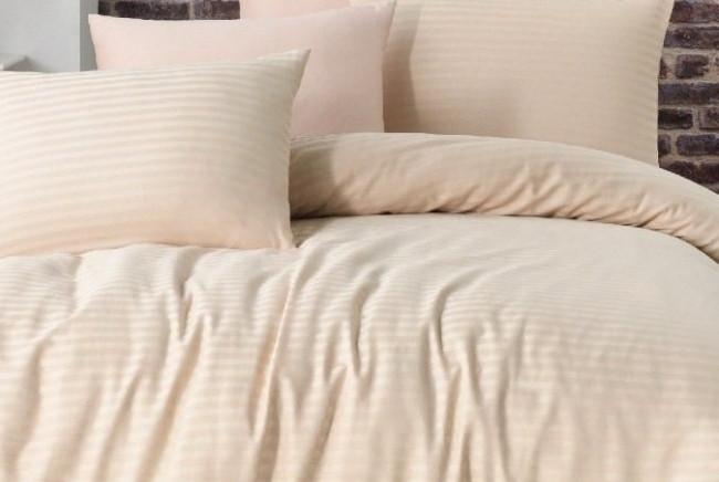 Постельное белье сатин страйп 2-спальное евро LA RITA Basic бежевое
