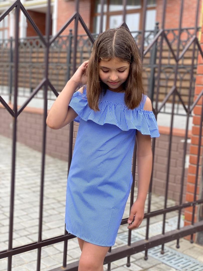 Платье детское с оборкой на плечах 128-140 см