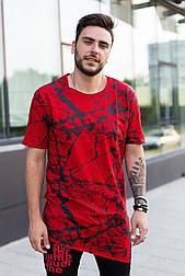😜 Футболка - Мужская футболка красная с черным удлиненная