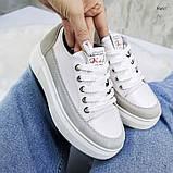 В наличии кроссовки, туфли, мокасины из натуральной кожи белого цвета с серой полоской, фото 3