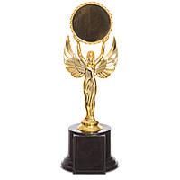 Награда (приз) спортивная НИКА с местом под жетон C-0333C (пластик, h-23cм, b-7,5см, золото)