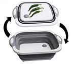 Доска разделочная складная универсальная Kitchen 2 в 1 для мытья и резки овощей Бело-серая, фото 3