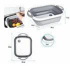 Доска разделочная складная универсальная Kitchen 2 в 1 для мытья и резки овощей Бело-серая, фото 6