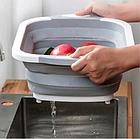Доска разделочная складная универсальная Kitchen 2 в 1 для мытья и резки овощей Бело-серая, фото 4