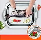 Доска разделочная складная универсальная Kitchen 2 в 1 для мытья и резки овощей Бело-серая, фото 2