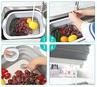Доска разделочная складная универсальная Kitchen 2 в 1 для мытья и резки овощей Бело-серая, фото 7