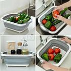 Доска разделочная складная универсальная Kitchen 2 в 1 для мытья и резки овощей Бело-серая, фото 8