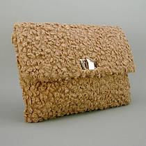 Сумка средняя женская мех Букле экокожа коричневая 116-2