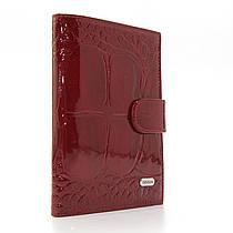 Обложка для прав лаковая кожаная купюры карты бордовая Desisan 101-89