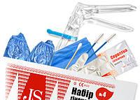 Набор гинекологический JS № 4 (пеленка, перчатки(M),зеркало (S,M), щеточка эндо.-2шт, лист для зам)