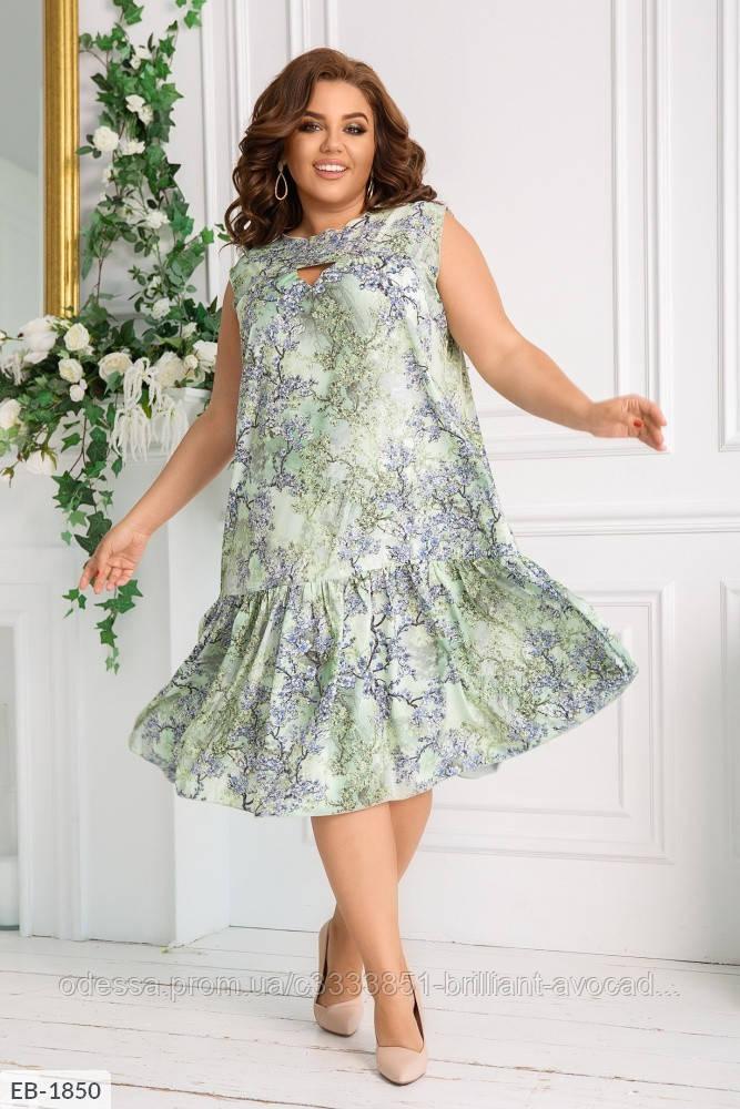 Женское летнее платье с оборкой в цветочек, большой размер!