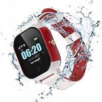 Детские смарт-часы JETIX DF50 с GPS трекером (Бело-красный)