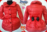 Детский модный теплый плащик на синтепоне для девочки / коралл