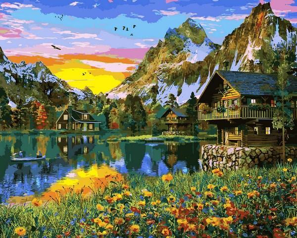 Картина по номерам Babylon Деревня у горного озера 40*50 см (в коробке) арт.VP1145