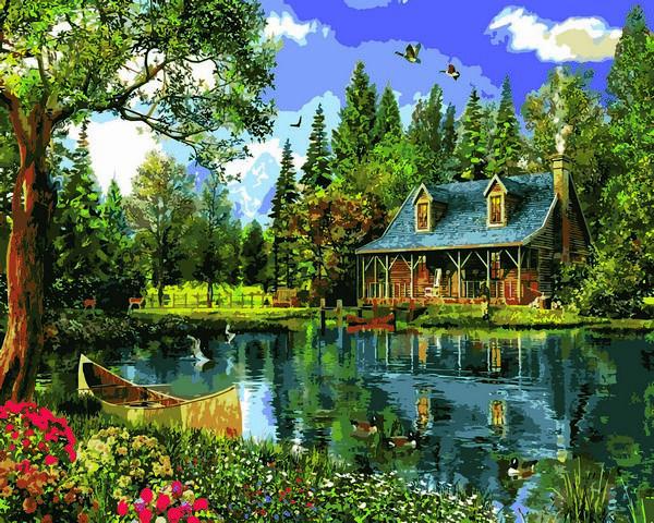 Картина за номерами Babylon Літній день біля озера 40*50 см арт.VP1146