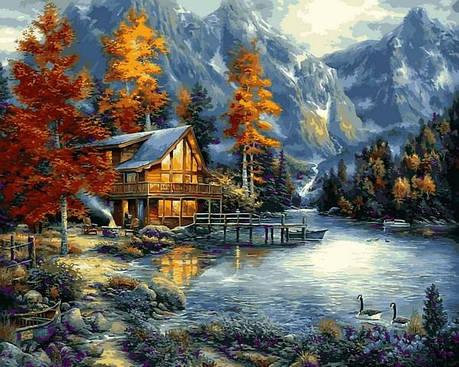 Картина за номерами Babylon Осіннє озеро 40*50 см арт.VP1151, фото 2