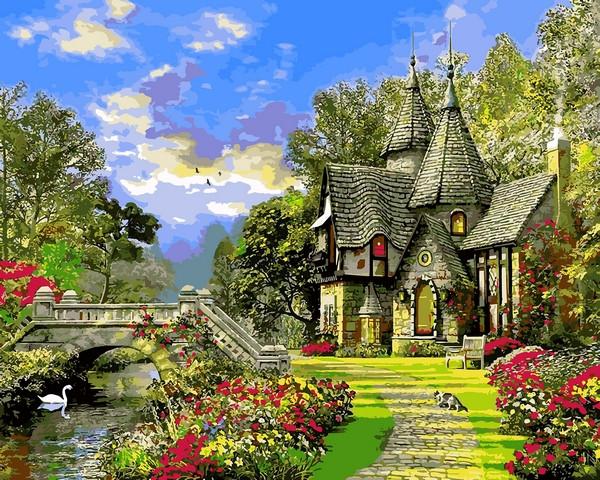 Картина за номерами Babylon Будинок з башточками 40*50 см арт.VP1155