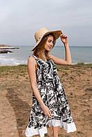 Платье миди Мила женское из льна свободное легкое с оборками Smdi4542