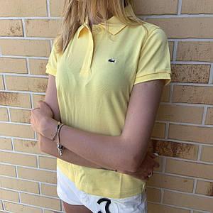 Жіноча футболка поло Lacoste жовта / Люкс якість