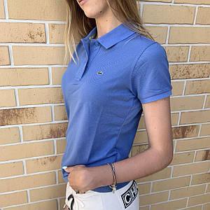 Жіноча футболка поло Lacoste синя / Люкс якість
