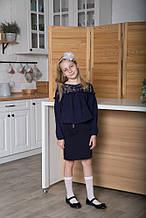 Блузка для дівчинки шкільна синя SmileTime Susie (ШКОЛА
