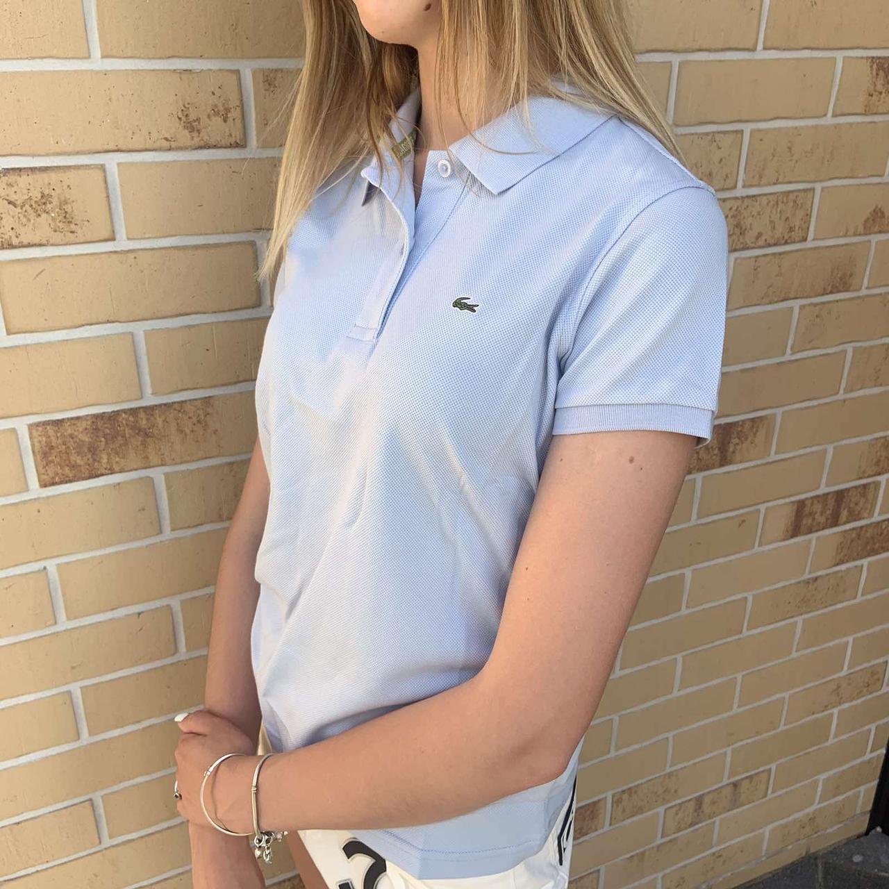 Жіноча футболка поло Lacoste світло-голуба / Люкс якість