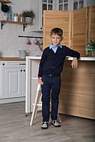 Пуловер (кофта) для мальчика р.122,128,134,140,146,152,158,164 на пуговицах SmileTime, синий (ШКОЛА)