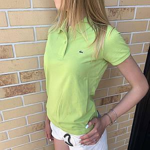 Жіноча футболка поло Lacoste салатова / Люкс якість