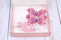 Набор заколок / резинок украшений детский в розовом цвете в коробке подарок для девочки