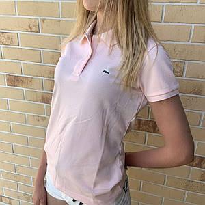 Жіноча футболка поло Lacoste світло-рожевий / Люкс якість