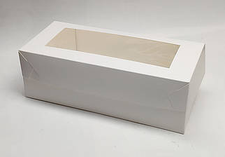"""Коробка для рулетов и пирогов """"Белая с окном 330*150*110"""""""
