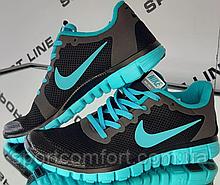 Кроссовки Nike Free 3.0 V2 All черные с бирюзой