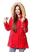 Парка модная женская красная МФ 102032