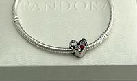 Шарм Сердце подвеска серебряная бусина для браслета Pandora Пандора серебро
