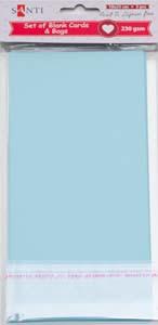 Набор голубых заготовок для открыток, 10см*20см, 230г/м2, 5шт.