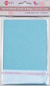 Набор голубых перламутровых заготовок для открыток, 10см*15см, 250г/м2, 5шт.