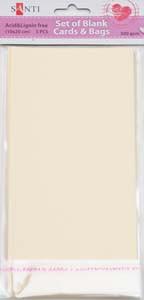 Набор кремовых текстурированных заготовок для открыток, 10см*20см, 300г/м2, 5шт.