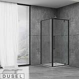 Душевая кабина Dusel DL198B/DL196B Black Matt , 90х90х190, дверь распашная, профиль черный, стекло прозрачное, фото 2